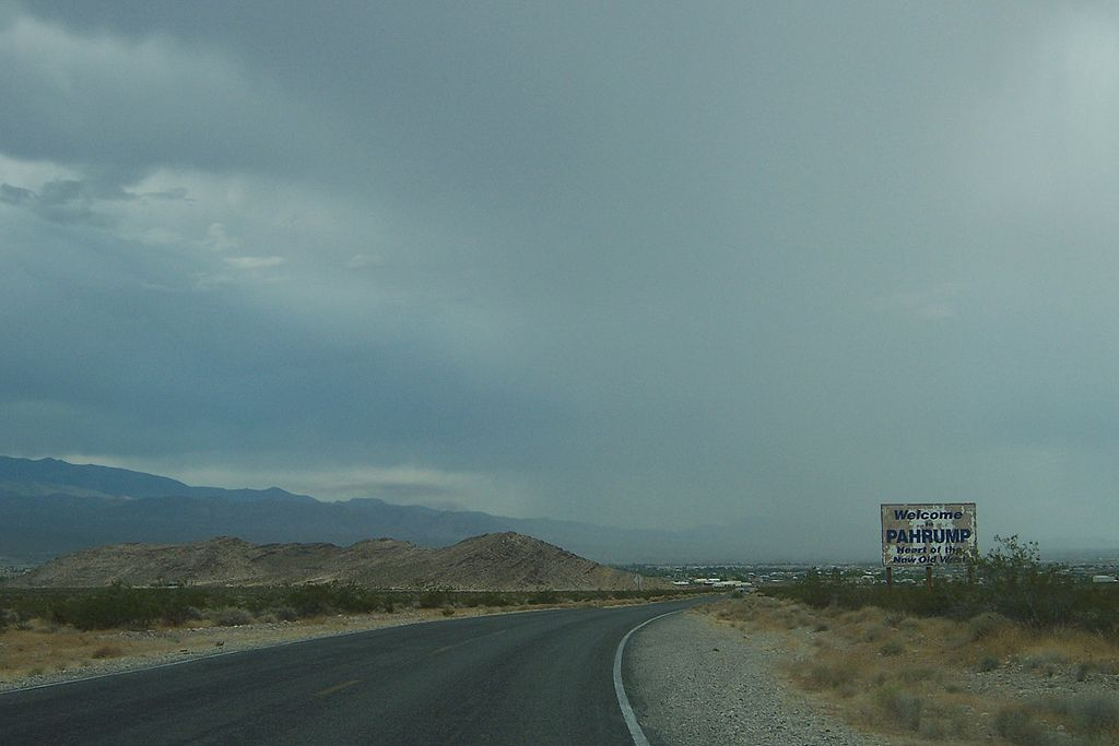 Pahrump, Nevada, welcome sign.