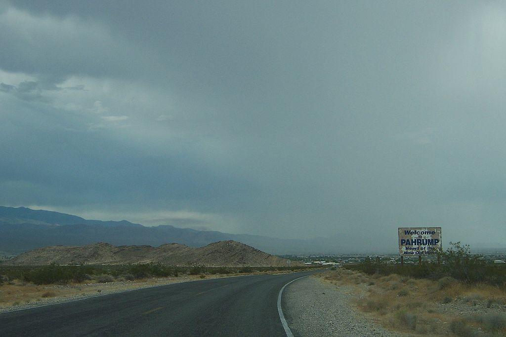 Pahrump, Nevada, welcome sign.