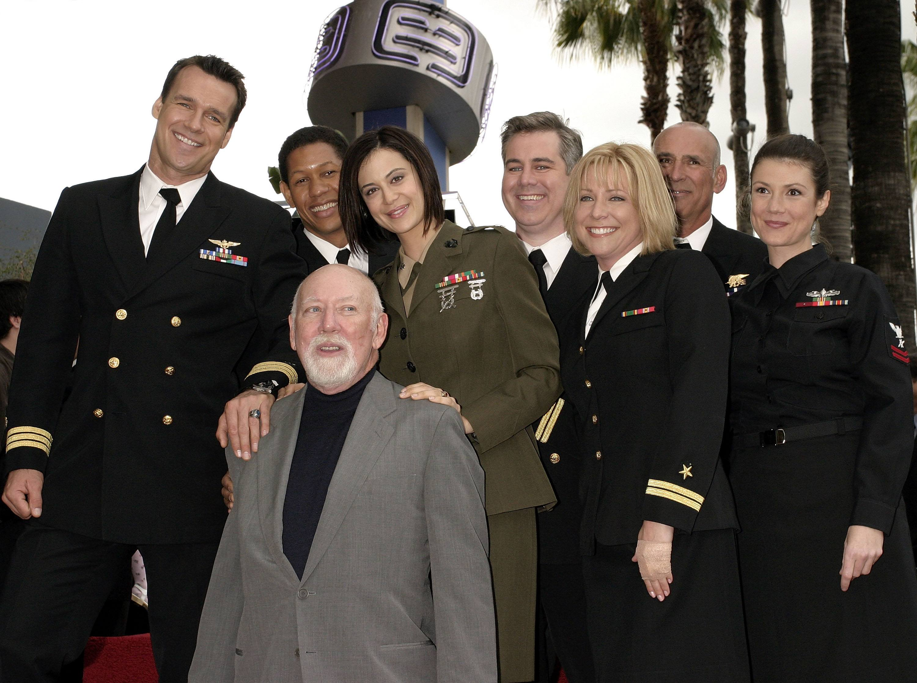 Donald Bellisario with the JAG cast