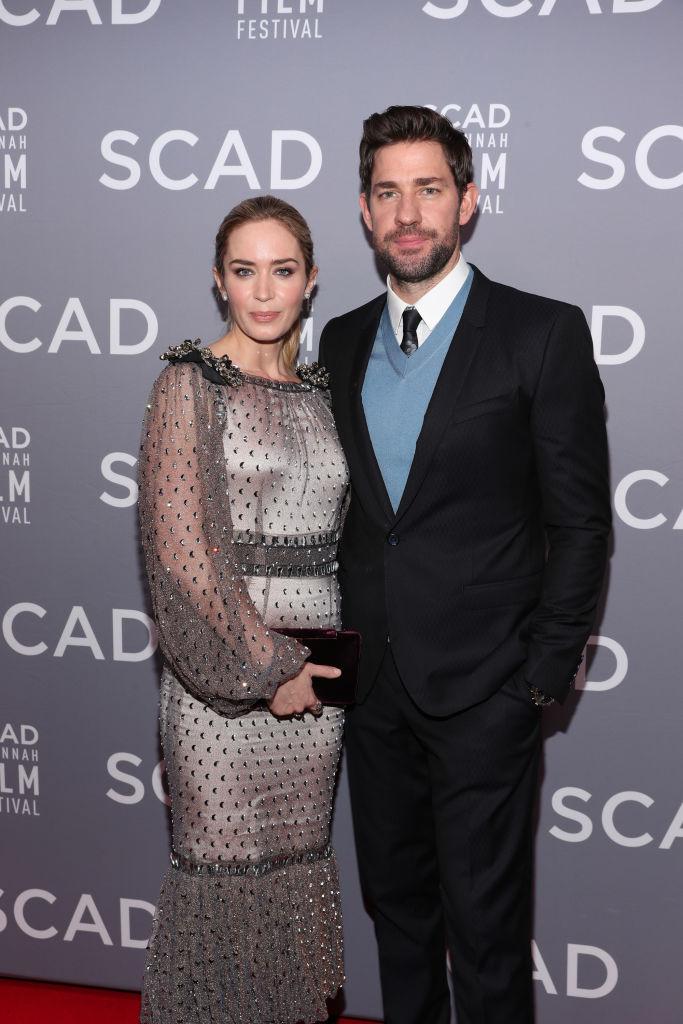 Emily Blunt and John Krasinski attend the 21st SCAD Savannah Film Festival opening night on October 27, 2018 in Savannah, Georgia.