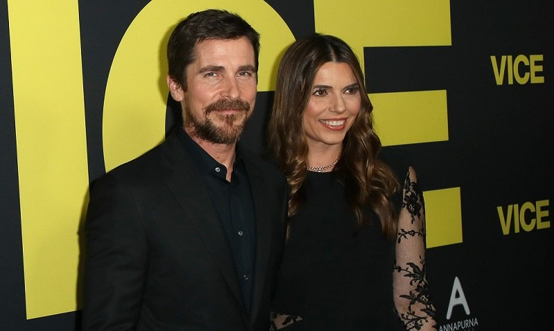 Christian Bale and Sibi Blaiseich, Bail's wife, at the premiere premiere of Beverly Hills on December 11, 2018
