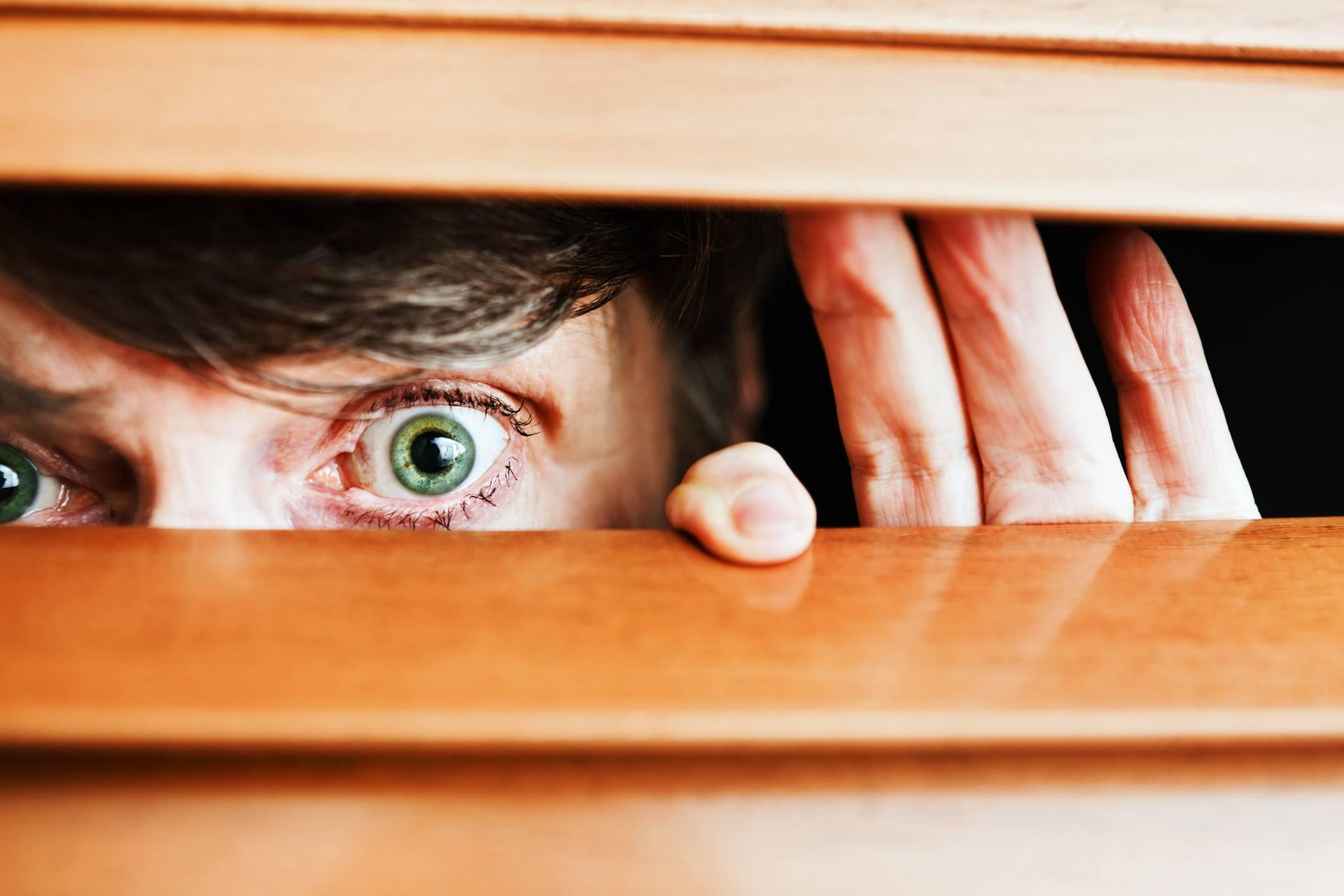 Nosy neighbor peeking through blinds