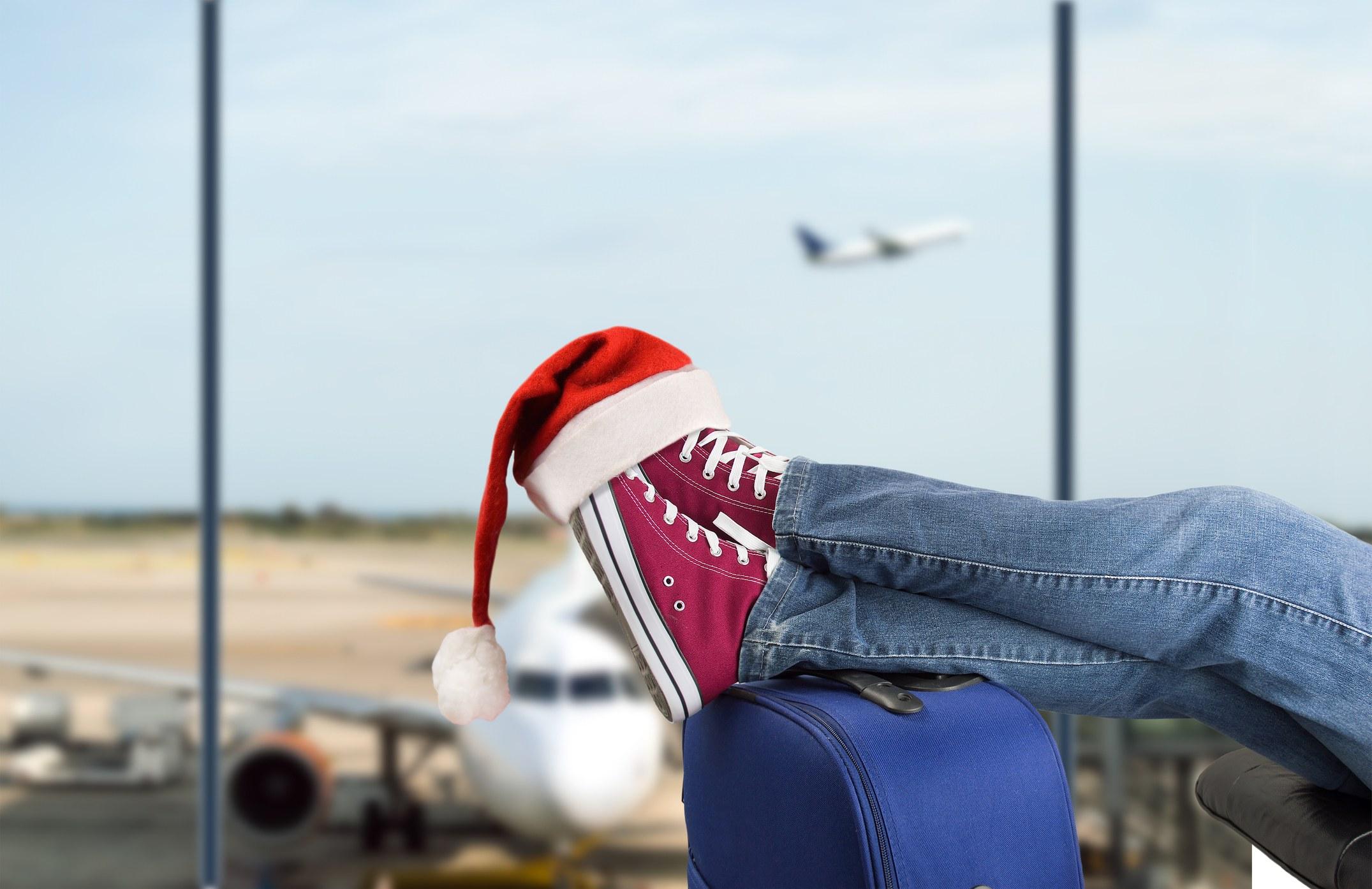 Santa hat at the airport