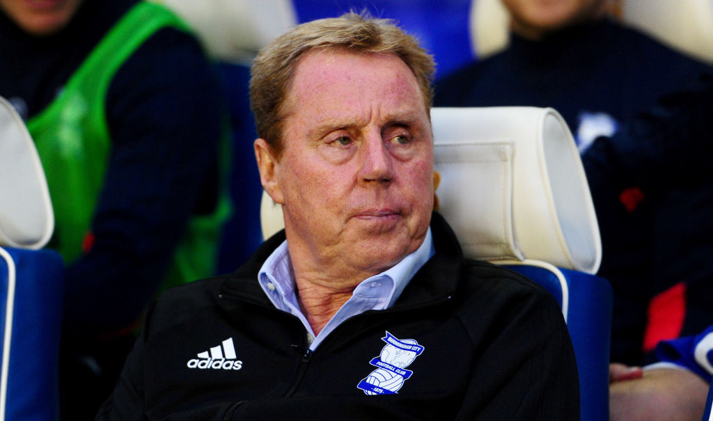 Harry Redknapp, Manager of Birmingham City looks on prior to the Carabao Cup Second Round match between Birmingham City and AFC Bournemouth at St Andrews (stadium) on August 22, 2017 in Birmingham, England.