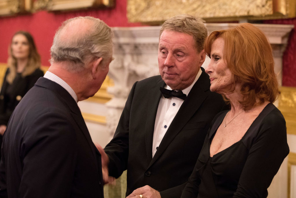 """Prince Charles, Prince of Wales meets Harry Redknapp (C) and wife Sandra Redknapp attends the Prince's Trust 'Invest in Futures' pre-dinner reception celebrating the one-year anniversary of The Trust's partnership with L'Oreal Paris and their """"All Worth It"""" confidence training program at St James's Palace on February 8, 2018 in London, England."""