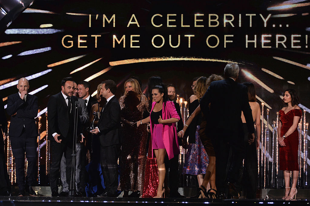 Anthony McPartlin, Declan Donnelly and Scarlett Moffatt accept the Best Challenge Show award for I'm a Celebrity... Get Me Out of Here, on stage during the National Television Awards at The O2 Arena on January 25, 2017 in London, England.