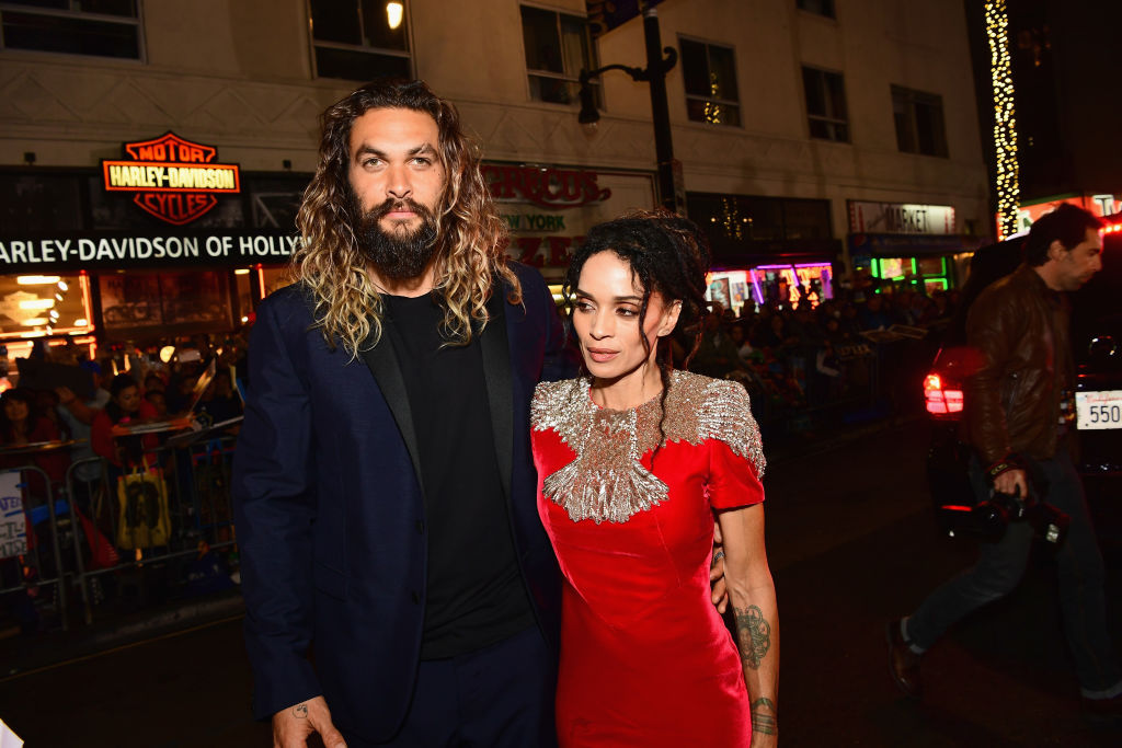 """Jason Momoa and Lisa Bonet attend the premiere of Warner Bros. Pictures' """"Justice League"""" at Dolby Theatre on November 13, 2017 in Hollywood, California."""