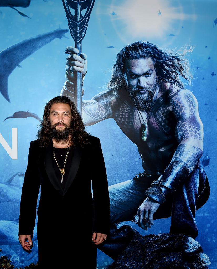 "Jason Momoa arrives at the premiere of Warner Bros. Pictures' ""Aquaman"" at the Chinese Theatre on December 12, 2018 in Los Angeles, California."
