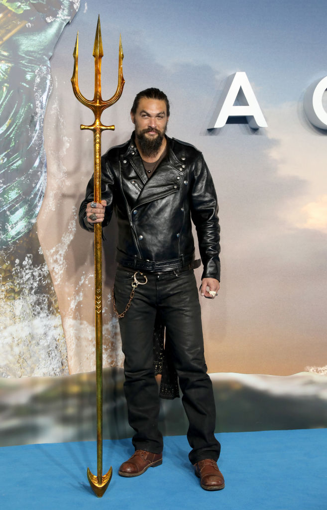 "Jason Momoa attends the ""Aquaman"" world premiere at Cineworld Leicester Square on November 26, 2018 in London, England."