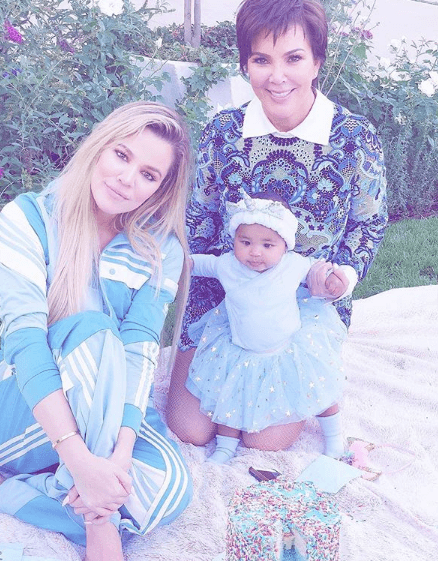 Khloe Kardashian with daughter True and mother Kris Jenner