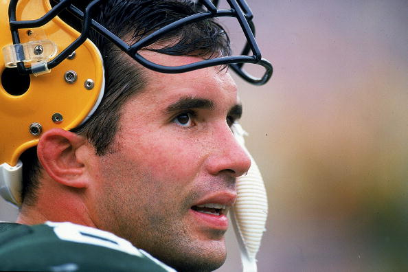 Mark Chmura looks on the field during a game against the Oakland Raiders at the Lambeau Field in Green Bay, Wisconsin. The Packers defeated the Raiders 28-24.