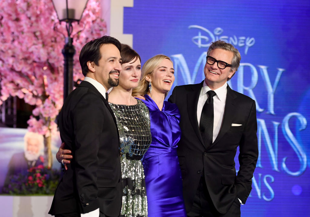 """(L-R) Lin-Manuel Miranda, Emily Mortimer, Emily Blunt and Colin Firth attend the European Premiere of """"Mary Poppins Returns"""" at Royal Albert Hall on December 12, 2018 in London, England."""