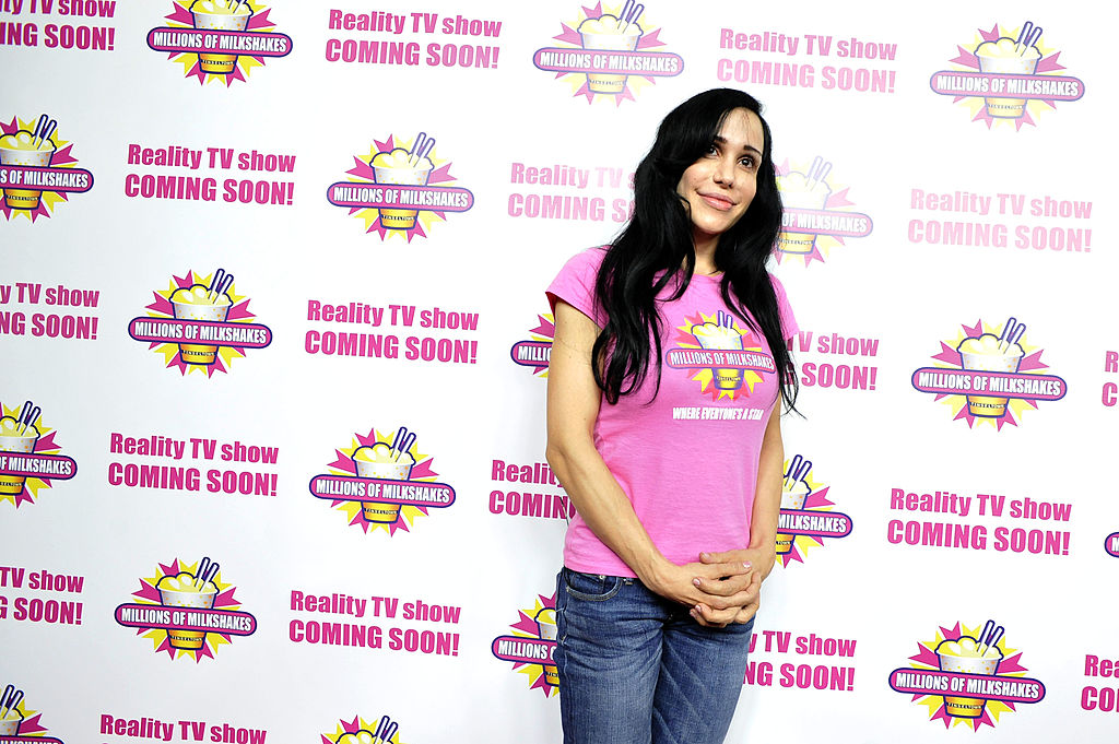 Nadya Suleman and her large family plus helpers launch their signature Milkshake at 'Millions of Milkshakes' on November 10, 2010 in West Hollywood, California.