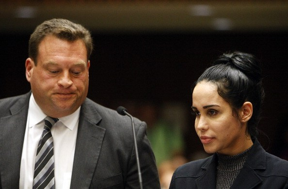 "Nadya Suleman, also known as ""Octomom"", appears in Superior Court with her attorney Arthur J. La Cilento for arraignment January 17, 2014 in Los Angeles, California. Suleman was  charged with receiving $16,481 in welfare payments illegally."