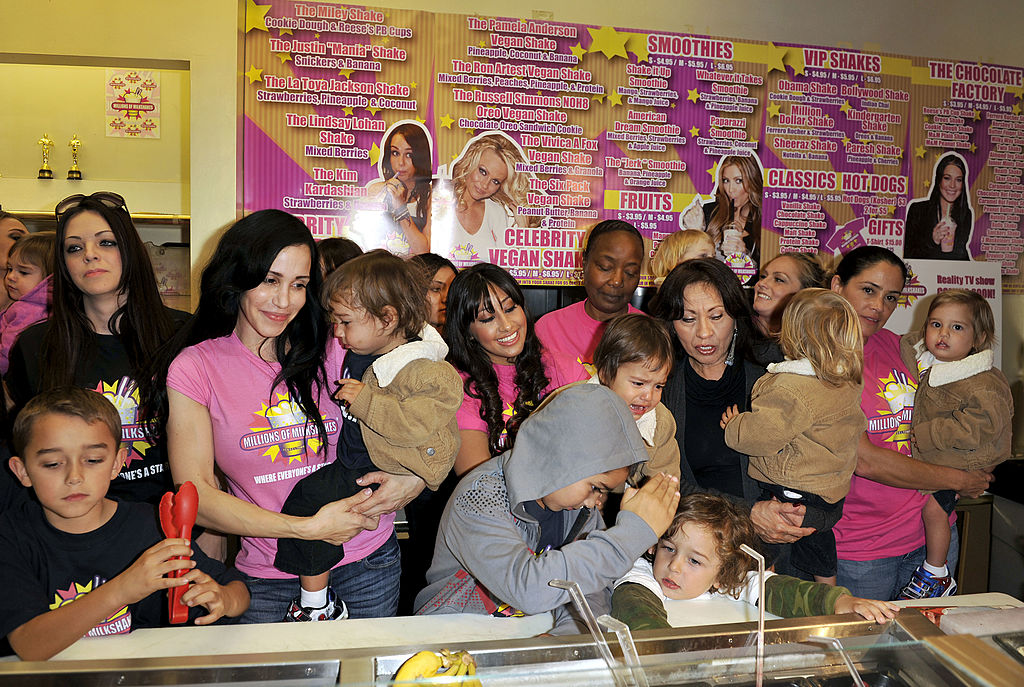Octomom Nadya Suleman and her large family plus helpers launch their signature Milkshake at 'Millions of Milkshakes' on November 10, 2010 in West Hollywood, California.
