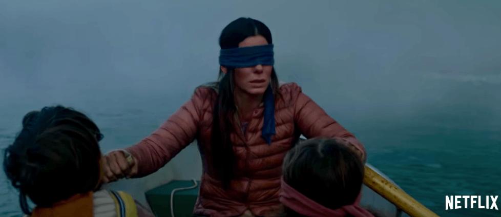 Sandra Bullock's character hides her eyes