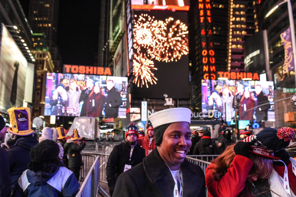 Times Square ahead of New Year's celebrations on 31 December 2017 in New York City