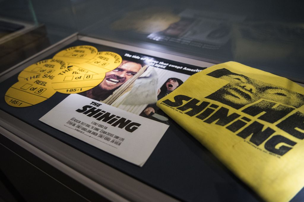 Promotional objects for the film 'The Shining' from the collection 'Cinema Stanley Kubrick' are displayed at the Aste Bolaffi auction house in Turin on March 23, 2018. The collection, containing memorabilia of late US director Stanley Kubrick from the collection of his assistant Emilio D'Alessandro