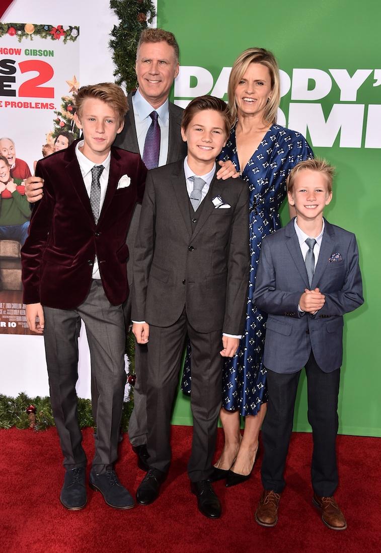 Actor Will Ferrell, Viveca Paulin, Magnus Paulin Ferrell, Mattias Paulin Ferrell, and Axel Paulin Ferrell.