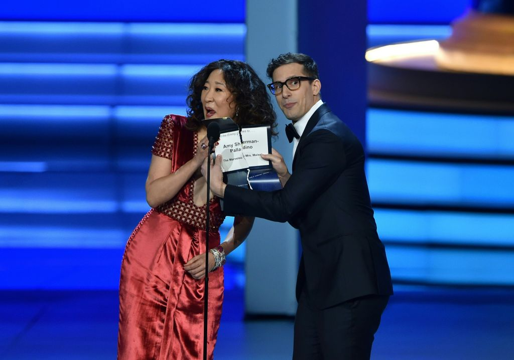 Sandra Oh and Andy Samberg presenting at the 2018 Emmy Awards.