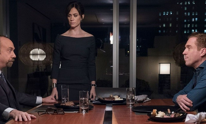 Paul Giamatti, Maggie Siff, and Damian Lewis act during a scene from 'Billions' Season 3