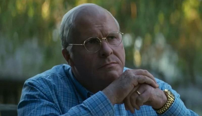 Christian Bale in costume as Dick Cheney in 'Vice'