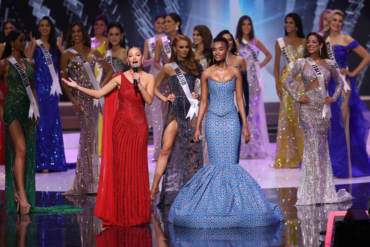 contestants on stage at the 2021 Miss Universe pageant