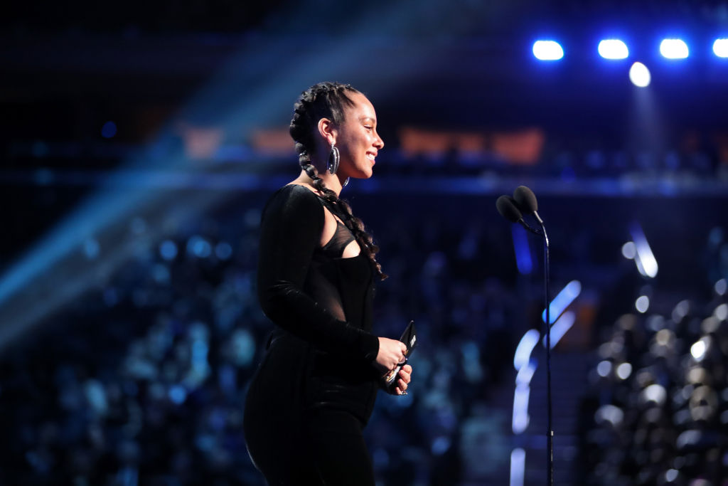 Ailcia Keys speaks onstage during the 60th Annual GRAMMY Awards at Madison Square Garden on January 28, 2018 in New York City.