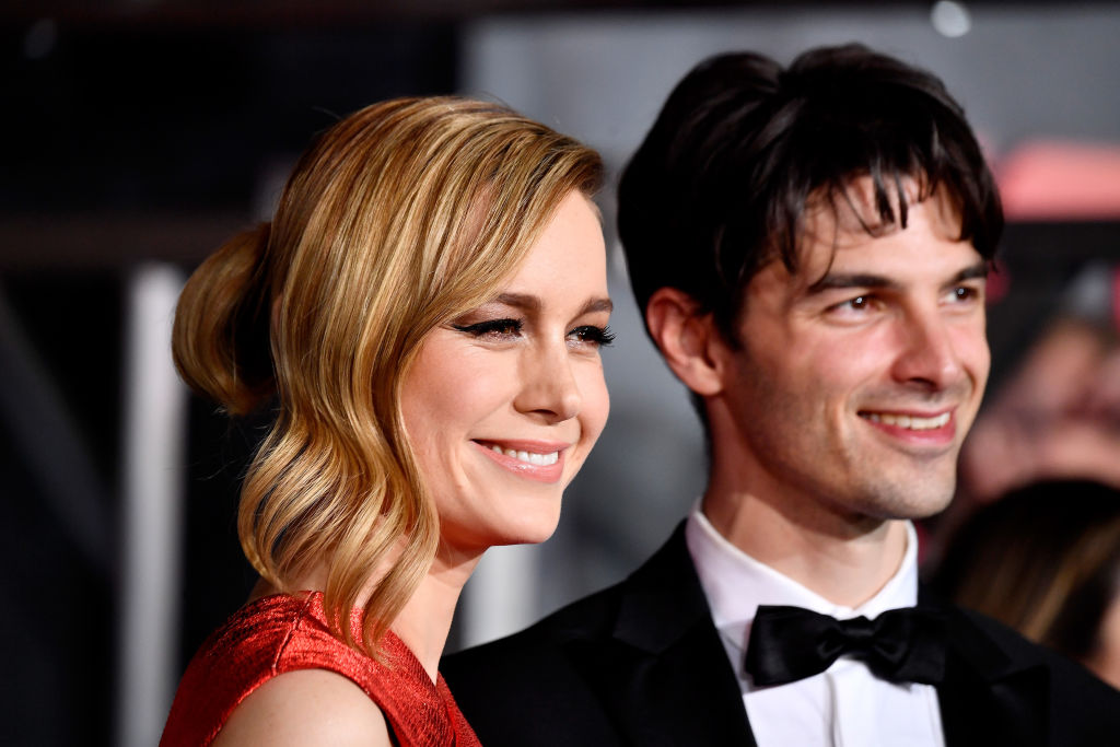 """Brie Larson and Alex Greenwald arrive at the Premiere of Warner Bros. Pictures' """"Kong: Skull Island"""" at Dolby Theatre on March 8, 2017 in Hollywood, California."""