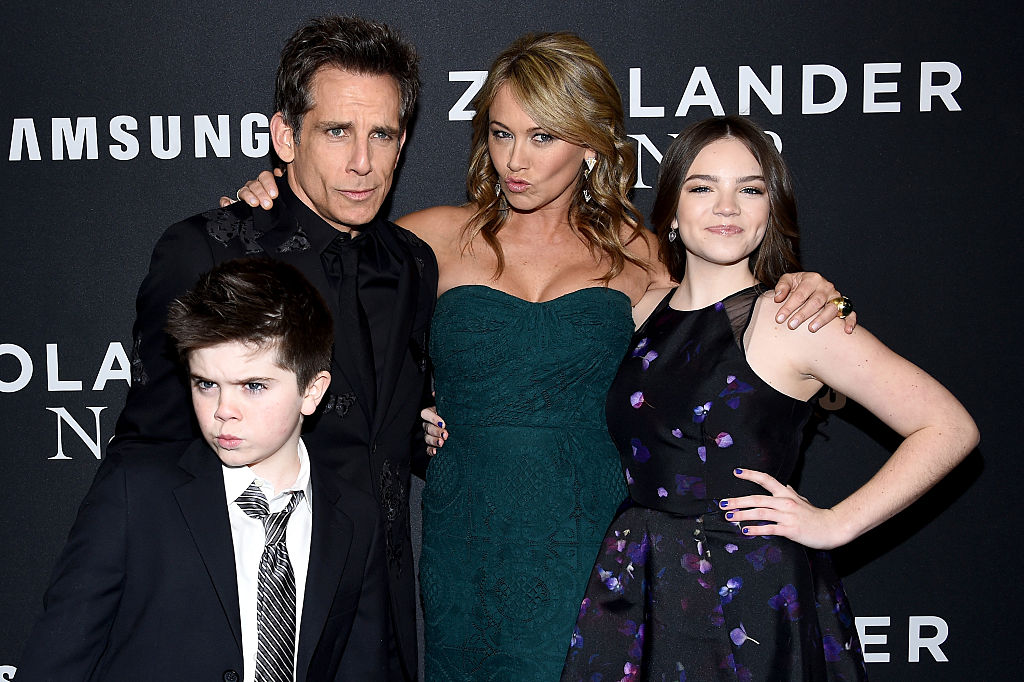 Quinlin Stiller, Ben Stiller, Christine Taylor and Ella Stiller at the 'Zoolander 2' premiere in February 2016.