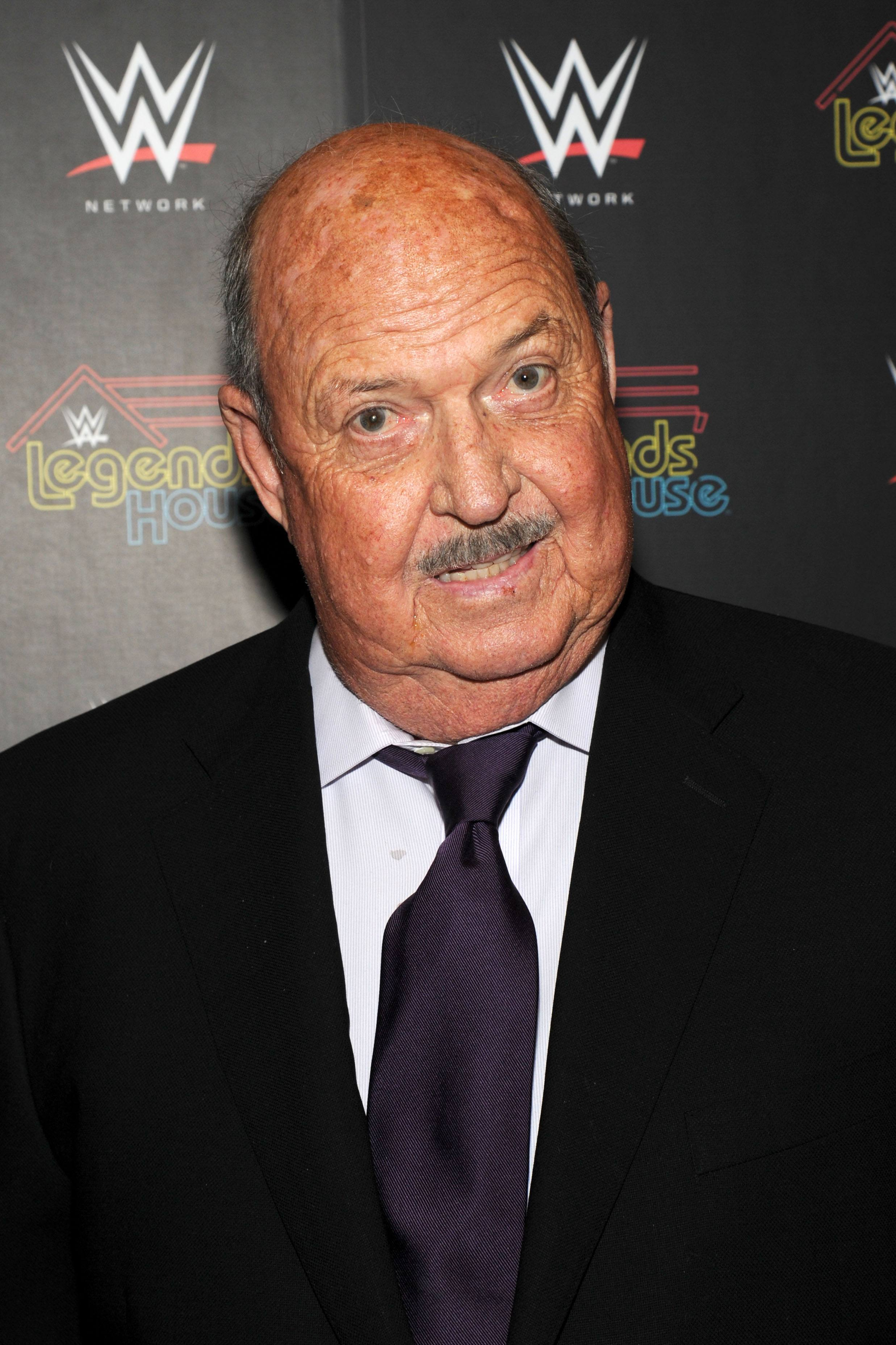 """Gene Okerlund attends the WWE screening of """"Legends' House"""" at Smith & Wollensky on April 15, 2014 in New York City."""