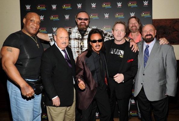 "Cast members Tony Atlas, Gene Okerlund, Hillbilly Jim, Jimmy Hart, Rowdy Roddy Piper, ""Hacksaw"" Jim Duggan and Howard Finkel attend the WWE screening of ""Legends' House"" at Smith & Wollensky on April 15, 2014 in New York City."