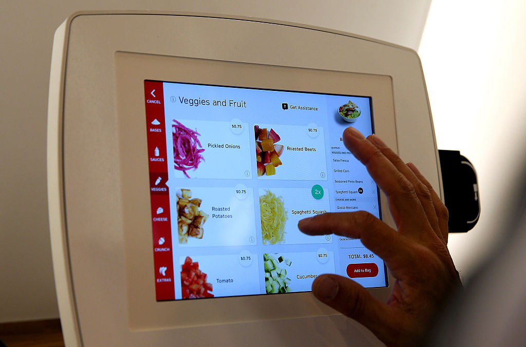 A self-serve fast food kiosk