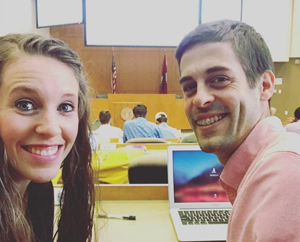 Jill and Derick Dillard spending time together at Derick's school