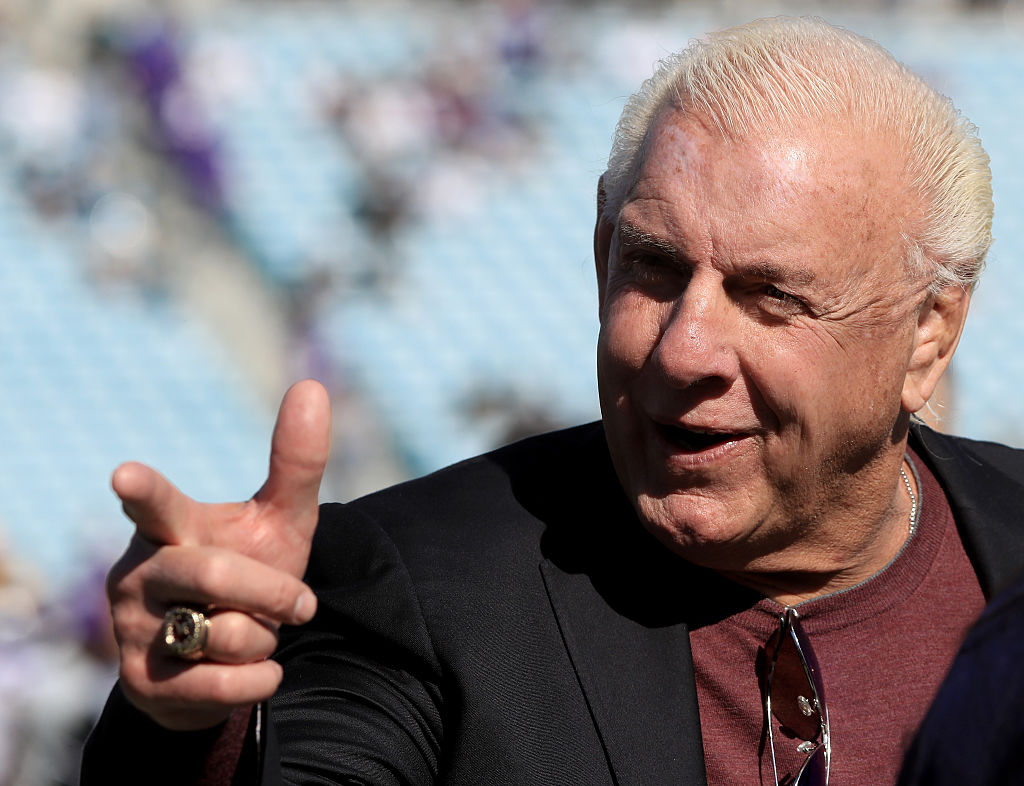 Former WWE champion Ric Flair before the game between the Minnesota Vikings and Jacksonville Jaguars at EverBank Field on December 11, 2016 in Jacksonville, Florida.