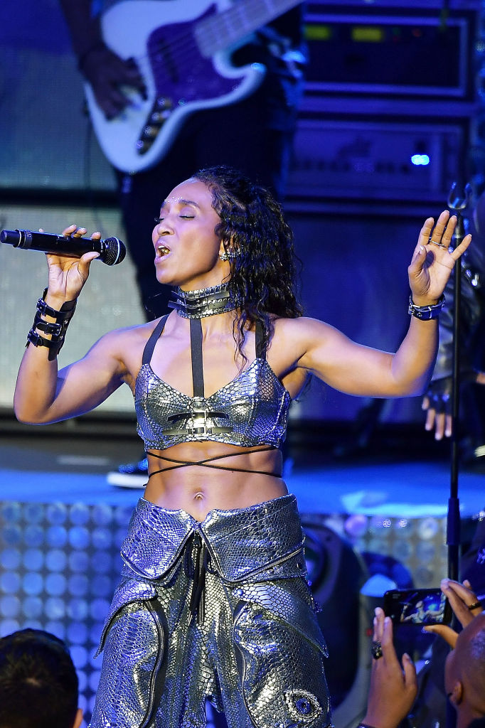 Rozonda 'Chilli' Thomas of the music group 'TLC' performs onstage during the I Love The 90s The Party Continues at The Greek Theatre on July 14, 2017 in Los Angeles, California.