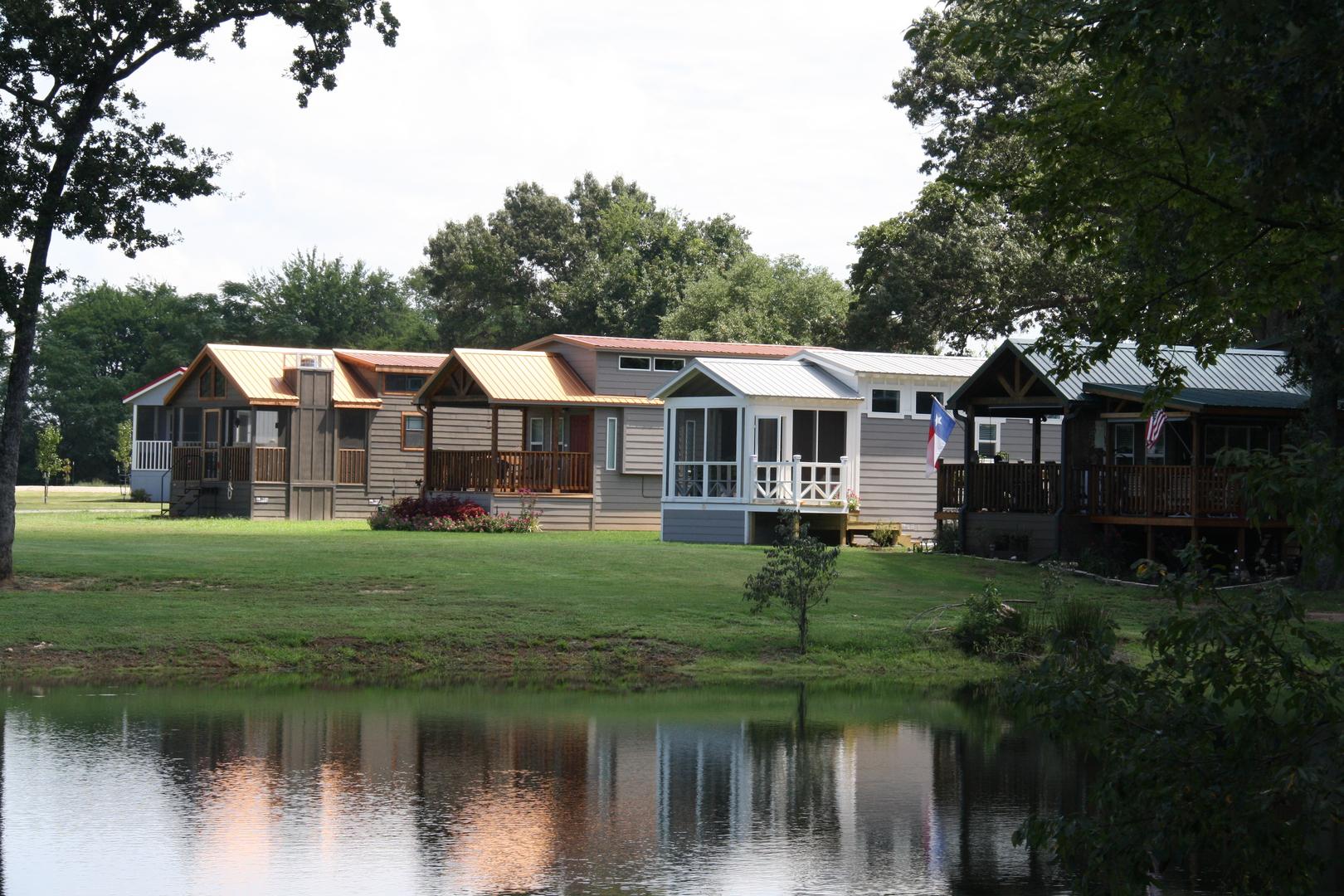 Tiny homes near a lake