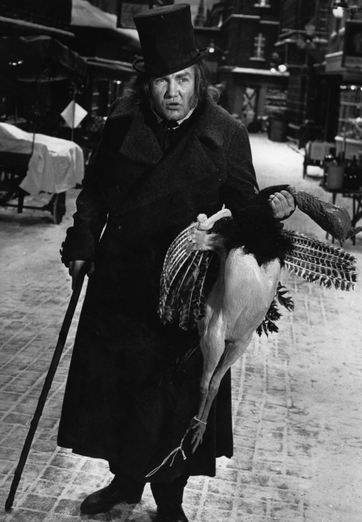 Actor Albert Finney as Ebenezer Scrooge