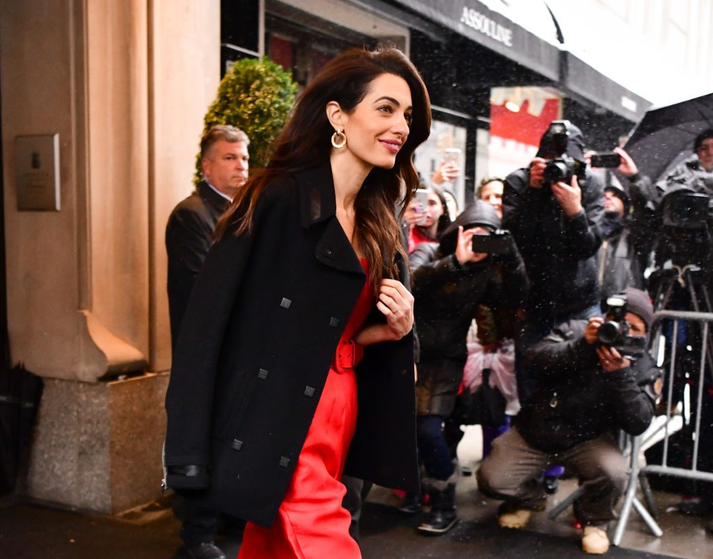 Amal Clooney walks into The Mark Hotel ahead of Meghan Markle's baby shower.