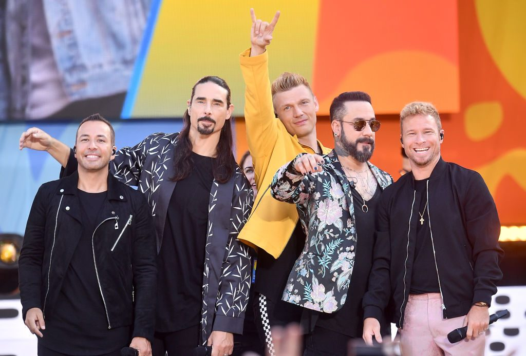 "(L-R) Howie D., Kevin Richardson, Nick Carter, AJ McLean and Brian Littrell of the Backstreet Boys perform on ABC's ""Good Morning America"" at SummerStage at Rumsey Playfield, Central Park on July 13, 2018 in New York City."