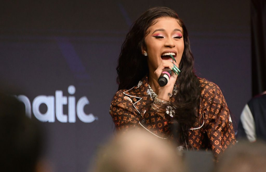 Cardi B performs onstage during Fanatics Super Bowl Party at College Football Hall of Fame on February 2, 2019 in Atlanta, Georgia.
