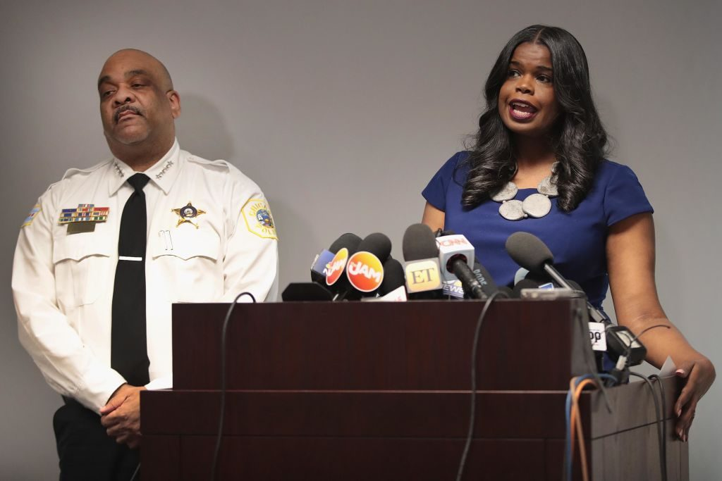Chicago Police Superintendent Eddie Johnson and Cook County State's Attorney Kim Foxx | Scott Olson/Getty Images