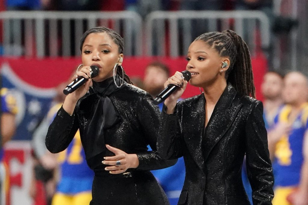 Chloe X Halle performs ahead of Super Bowl LIII between the New England Patriots and the Los Angeles Rams at Mercedes-Benz Stadium in Atlanta, Georgia, on February 3, 2019.