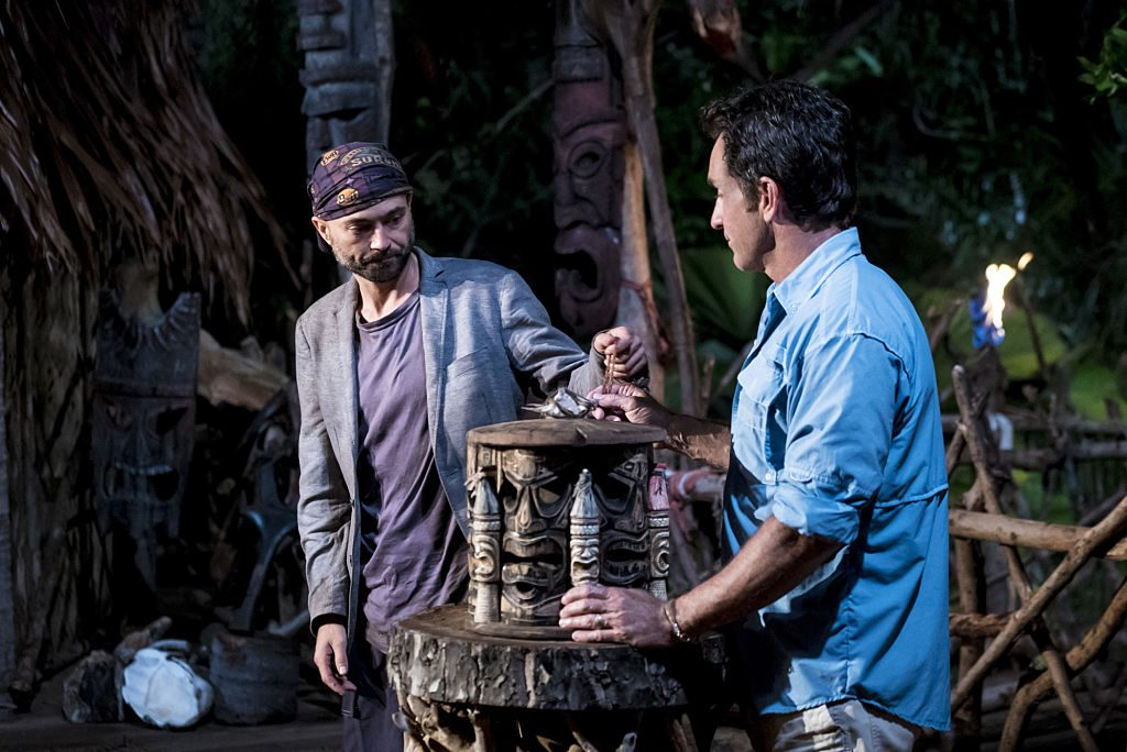 David Wright and Jeff Probst at Tribal Council