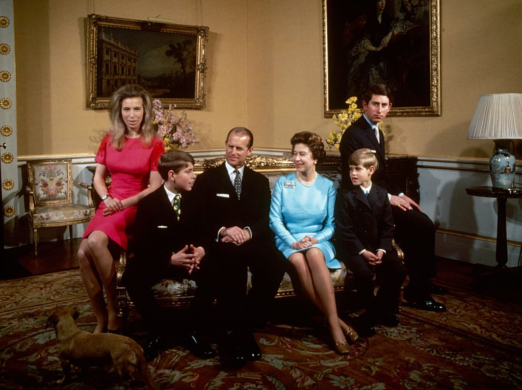 Left to right: Princess Anne, Prince Andrew, Prince Philip, Queen Elizabeth, Prince Edward and Prince Charles