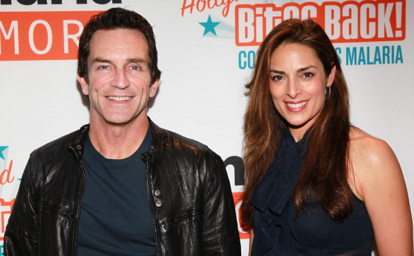 TV host Jeff Probst (L) and actress Lisa Ann Russell