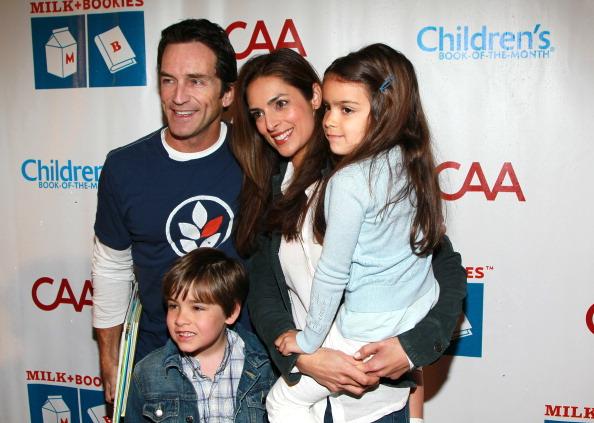 Jeff Probst, actress Lisa Ann Russell, and her children, Michael Gosselaar and Ava Gosselaar