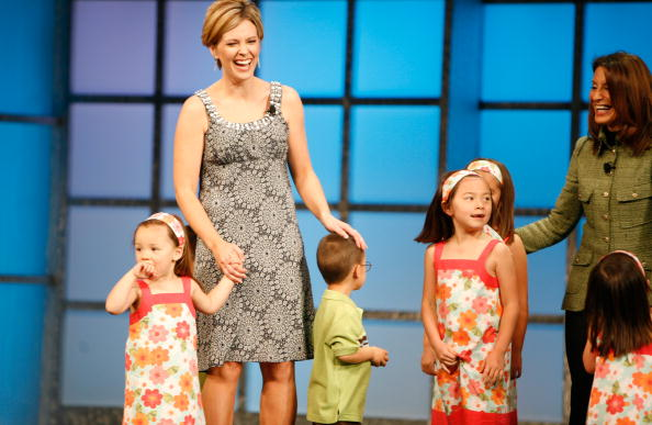 Kate Gosselin (L) and her children with President and CEO of TLC
