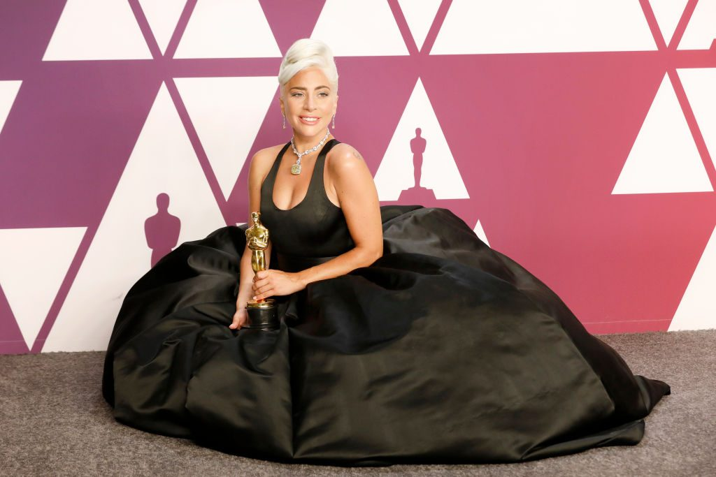 Lady Gaga poses with her Oscar | P. Lehman / Barcroft Images / Barcroft Media via Getty Images