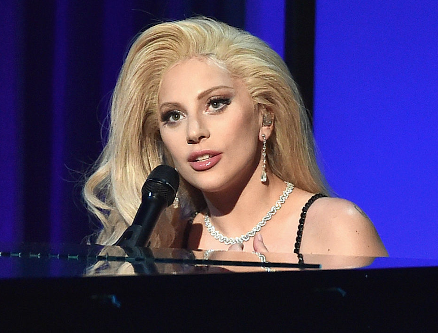Lady Gaga playing the piano
